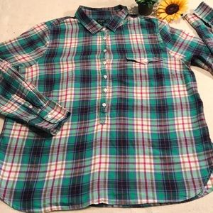 J Crew long sleeved green plaid top/tunic..XL